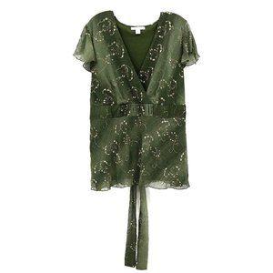 Dress Barn Shade Green Flutter Sleeve Lined Blouse